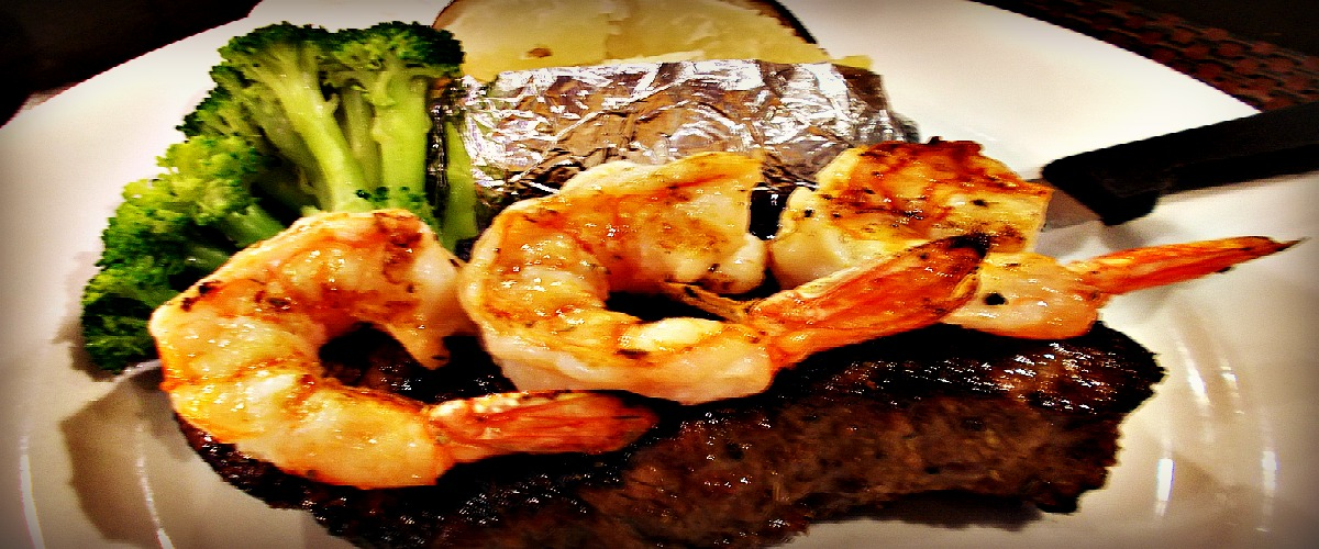 Steak & Prawns $25.95 Tasty!